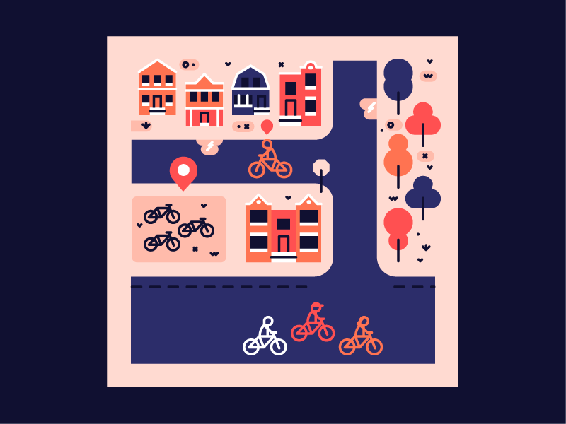 Reaching Transit Equity. editorial vector illustration flat cycling bike sharing