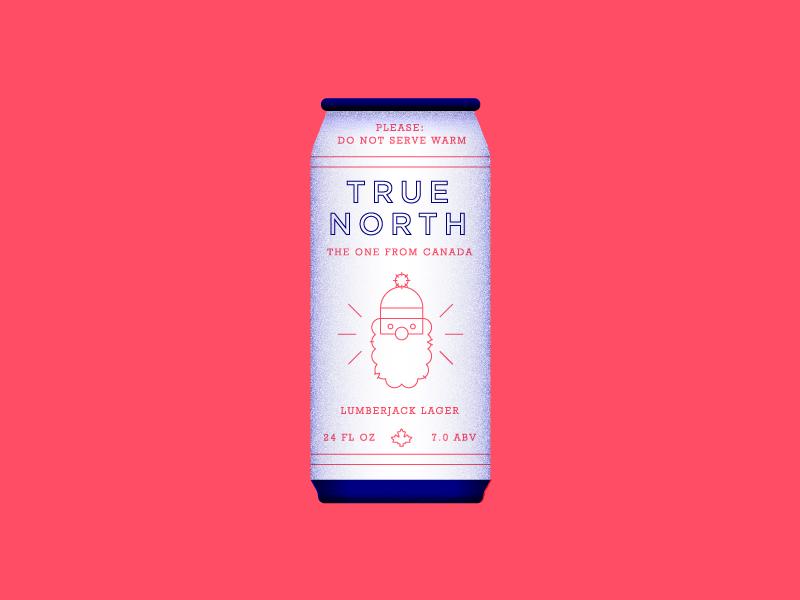 True North Redux. lumberjack canada branding label can beer