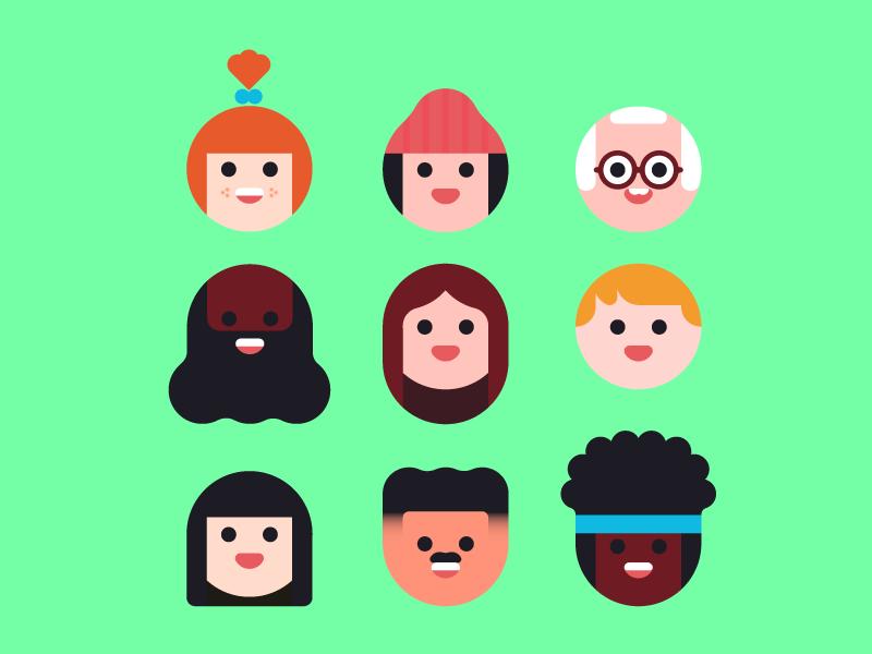 🙃🙃🙃 vector people portrait design character illustration flat faces