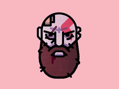 """""""BOY."""" illustration portrait kratos ps4 video game god of war"""