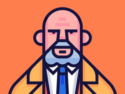 Dr. Samuel Loomis. illustration character design samuel loomis michael myers john carpenter halloween
