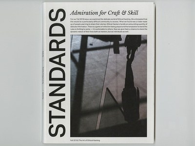 STANDARDS Magazine Cover ethical hacking ethical hacking graphic design layout brand design magazine typography