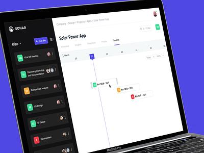 Sonar Project Management Tool - Timeline Screen webapp design webapp uiux designer uiuxdesign ux design uxdesign ux  ui uxui ux uidesigns ui  ux uidesignpatterns uidesigner uiux ui uidesign designtips design tips design tip design agency