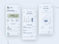 Calorie Tracker app   Neumorphic concept branding logo health app calorie dashboard ui dashboard mobile design mobile app mobile ui uxdesign trend 2020 trending neomorphic skeuomorphic skeuomorph app skeuomorphism neomorphism uidesign