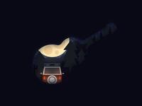Guitar Shape Scene Illustration