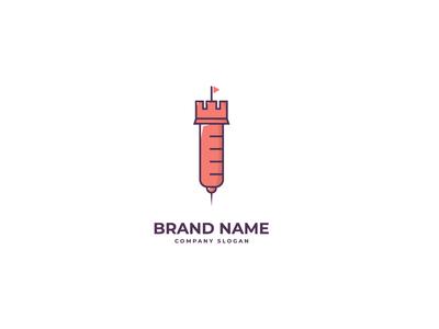 Medical Syringe Castle Logo Design