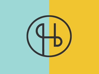 Hayden Holmes logo design minimal logo yellow blue aqua typography grey circle circle logo logo design