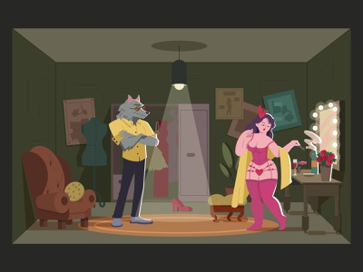 True story about Red Hood stay home stayhome pink green light room wolfman smoker girl vector illustration