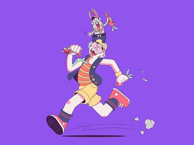 Run Hunter, run character design character fish carrot bunny runner running purple vector illustration