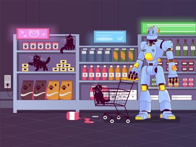 Cat's shopping shopping cart shopping cats cat robot flat design vector illustration