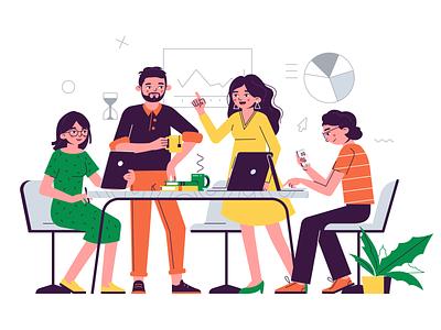 Team office teamwork flat design vector illustration