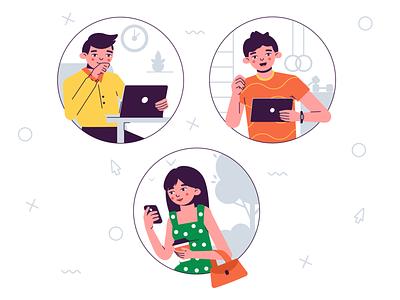 To make an order phone office sport boy girl flat design vector illustration