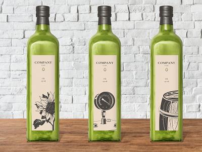 Oil bottles product product design labels shadow vector illustration