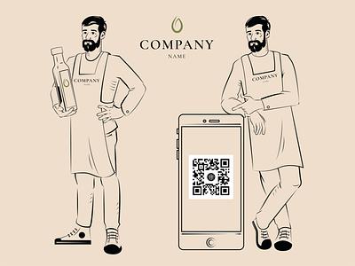 Oil-maker lines lineart characterdesign character vector illustration