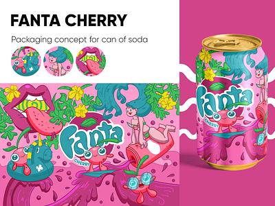 Packaging concept for Fanta Cherry pink branding characterdesign girl character design flat design vector illustration