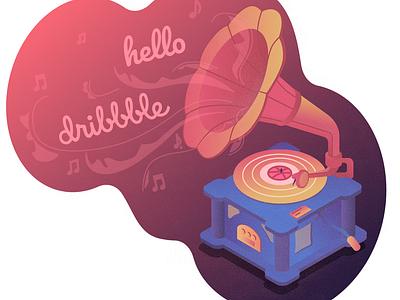 Hello Shot gramophone isometric art gradient firstshot debute vector illustration