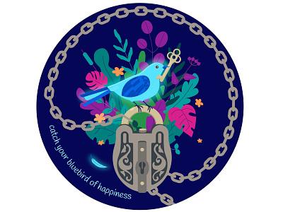 Bird of hapiness romance magic key lock bird bird illustration illustration