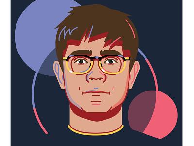 Profile picture glasses profile flat design portrait avatar vector illustration