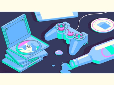 Lonely night with games phone bottle games gamepad isometric illustration isometric design isometric isometry flat design design vector illustration