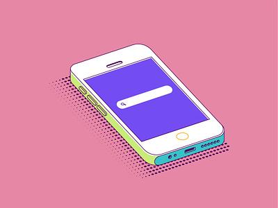 Phone green blue pink phone isometric isometry design vector