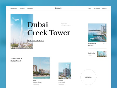 Promo site for Dubai Creek Tower by Emaar promo sites promo web design mikhail kulakov dubai creek harbour dubai creek dubai creek tower dubai ux design ui design uiux website minimal flat web ui design