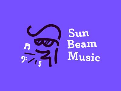 SBM cartoon character school noise glasses note logo design monogram russia studio vocal music beam sun