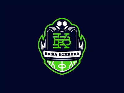 Soccer Team field ribbon russia emblem football green monogram ball shield team soccer sport logo