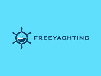 Freeyachting minimal mark ship sport logo porthole steering wheel helm window blue gull water sea free yachting
