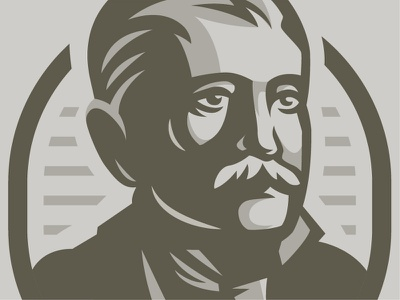 Gent portret englishman scientist history retro man character vector illustration russia logo engrave portret gent gentleman
