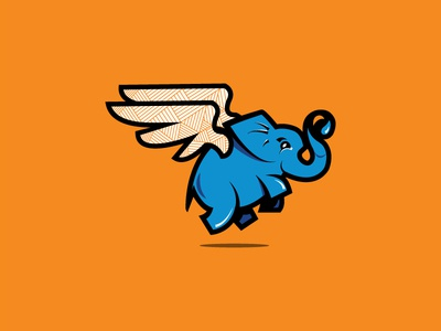 Rostelecom mascot cute fly logo minimal illustration cartoon fun character mascot russia rostelecom elephant