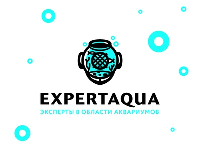 Expert Aqua sea blue equipment bubble coral aquarium character minimal mark russia logo diver fish water aqua