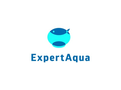 Expert Aqua ver. 2 mosaic character vector russia minimal mark logo aquarium glass blue negative space fish water aqua expert