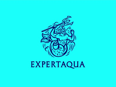 Expert Aqua ver. 3 superhero power fish cartoon character illustration engrave russia logo wave mermaid e trident aqua water poseidon