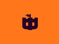 "letter ""Ф"" castle monogram mark russia logo window kingdom flag tower minimal letter fort castle"