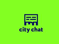 City chat geometric text skyscraper russia vector sky cloud bubble bulletion communication mark minimal logo chat city