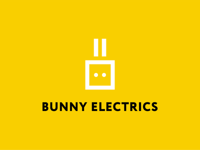 Bunny electrics geometric yellow rabbit animal shop store electronics russia mark logo jack minimal electrics bunny