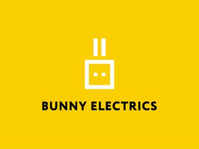 Bunny electrics geometric yellow rabbit animal shop store electronics russia mark logo jack minimal electrics bunny