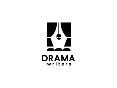 Drama writers cinema vector scene surprise mark russia logo curtains minimal ink pen scull theatre writers drama