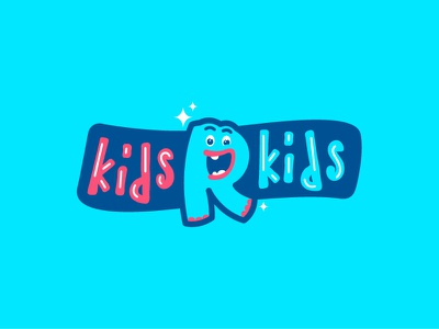 Kids'R'Kids ver.4 logo ribbon blue funny cartoon type lettering mascot character monster children kids
