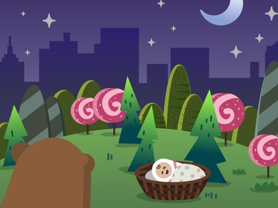 Game screen basket moon night cartoon forest city candy bear baby illustraion game
