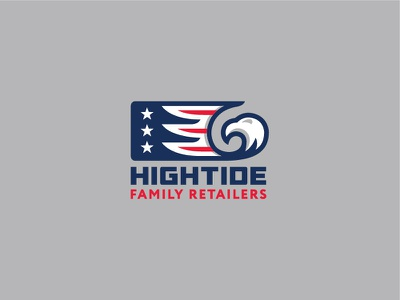 Hightide wave animal mark retail shop identity logo pricetag sale water store stars america american eagle