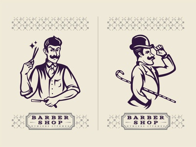 Barber shop. Characters