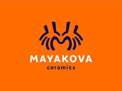 Mayakova ceramics negativespace logo pot ceramic pottery handcrafted handmade hands letter m monogram ceramics