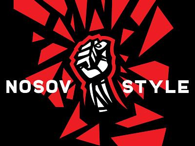 Nosov style design force russia black red hit debris logo knuckle fist hand