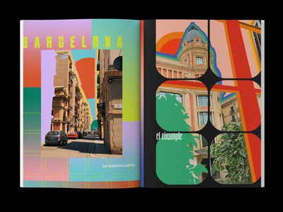 Barcelona Layout layout editorial photography colorful travel typography design illustration
