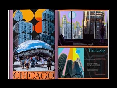Chicago typography travel photography layout design illustration editorial colorful