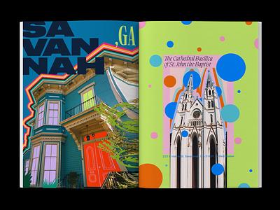 Savannah, GA typography colorful travel photography layout illustration editorial design