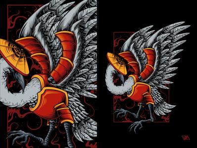 Flying Samurai clothing design ornament chinese falcon eagle ninja samurai japanese crane bird apparel branding art logo artwork animal design tshirt illustration vector