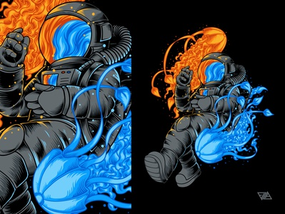 Jellyfields Space animal fish flames water moon stars jellyfish alien planet astronaut poster apparel branding art logo artwork design tshirt illustration vector