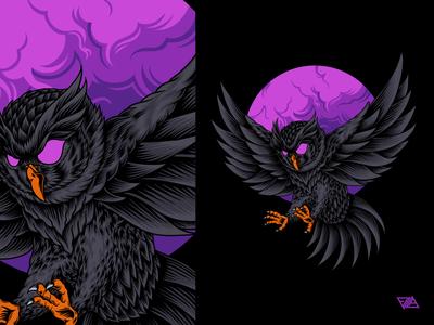 Owl crow raven night dark cloud eagle bird owl animals poster apparel branding art logo artwork animal design tshirt illustration vector